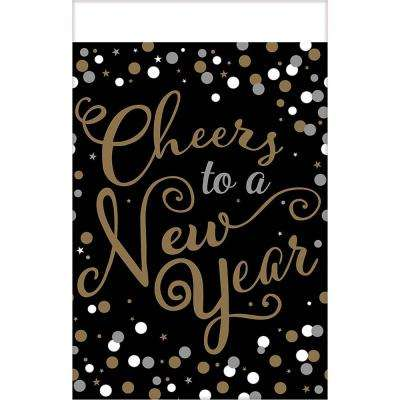New Year's 54 in. x 102 in. Black Confetti Celebration Plastic Tablecover (3-pack)