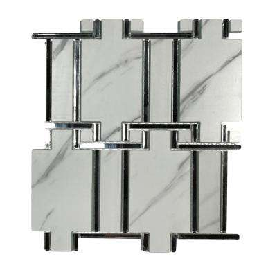 Nature Carrara White Versailles Mosaic 10 in. x 11 in. Decorative Glass & Acrylic Wall Tile (19.5 Sq. ft)