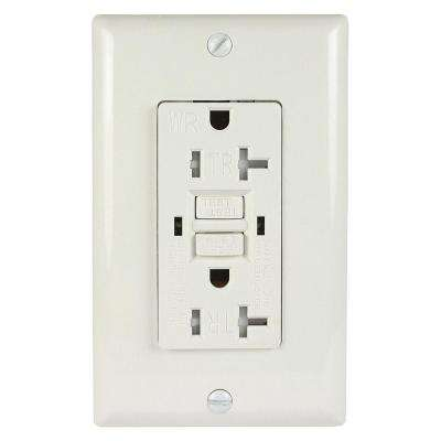 2-Outlet 20 Amp 125 VDC GFCI Electrical Wall Outlet Tamper Resistant Weather Resistant Wall Plate, White