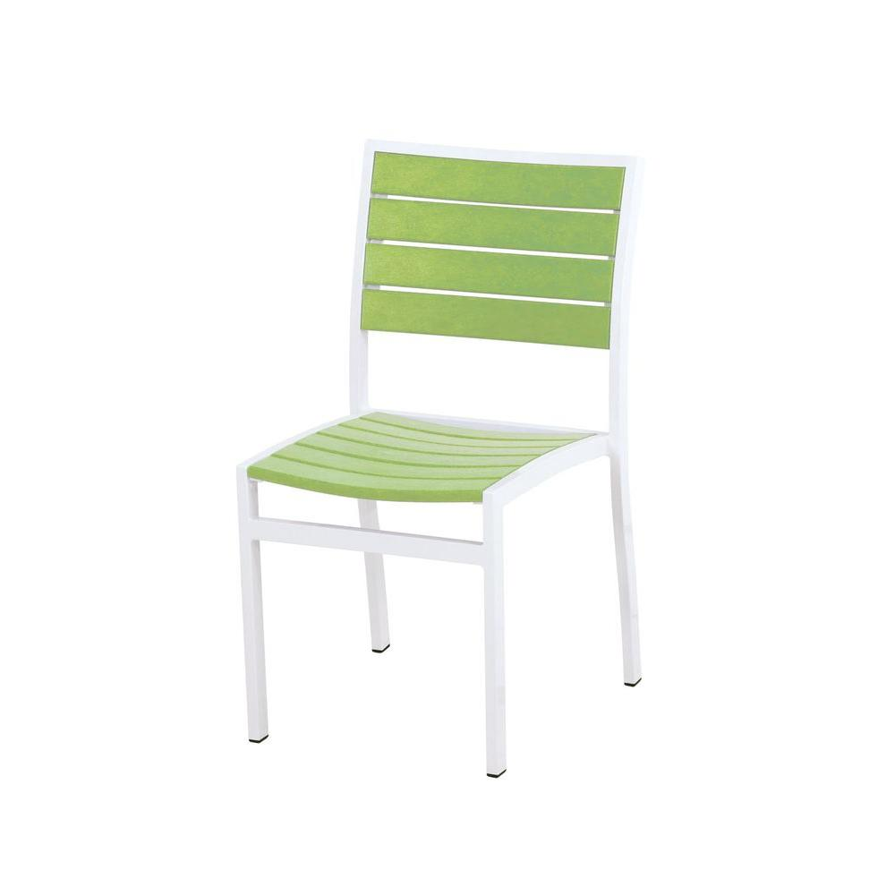 Euro Satin White/Lime Patio Dining Side Chair