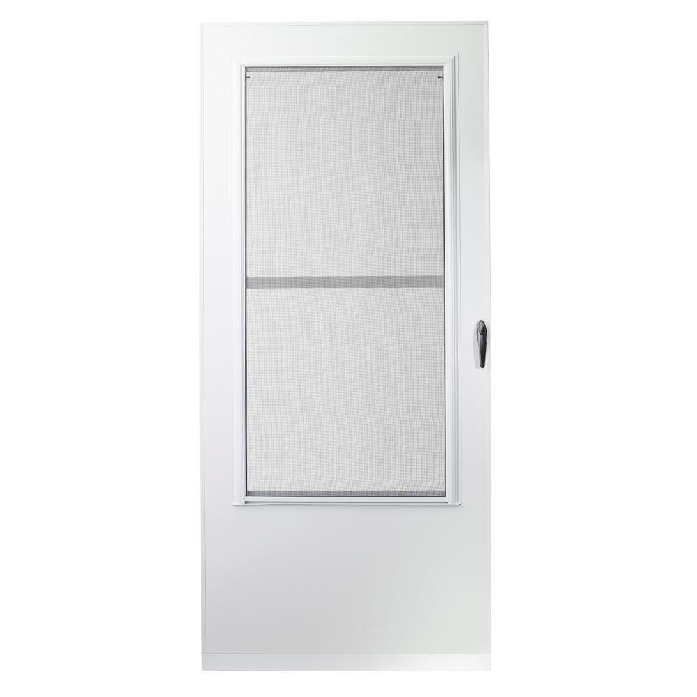 emco 36 in x 80 in 100 series white self storing storm door e1ss