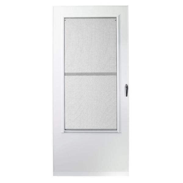 36 in. x 80 in. 100 Series White Self-Storing Storm Door