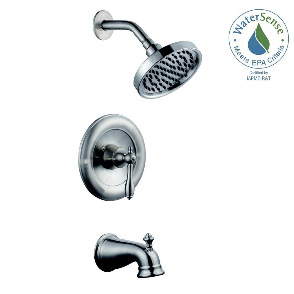 Glacier Bay Estates WaterSense 1-Handle Tub and Shower Faucet in Brushed Nickel (Valve Included)