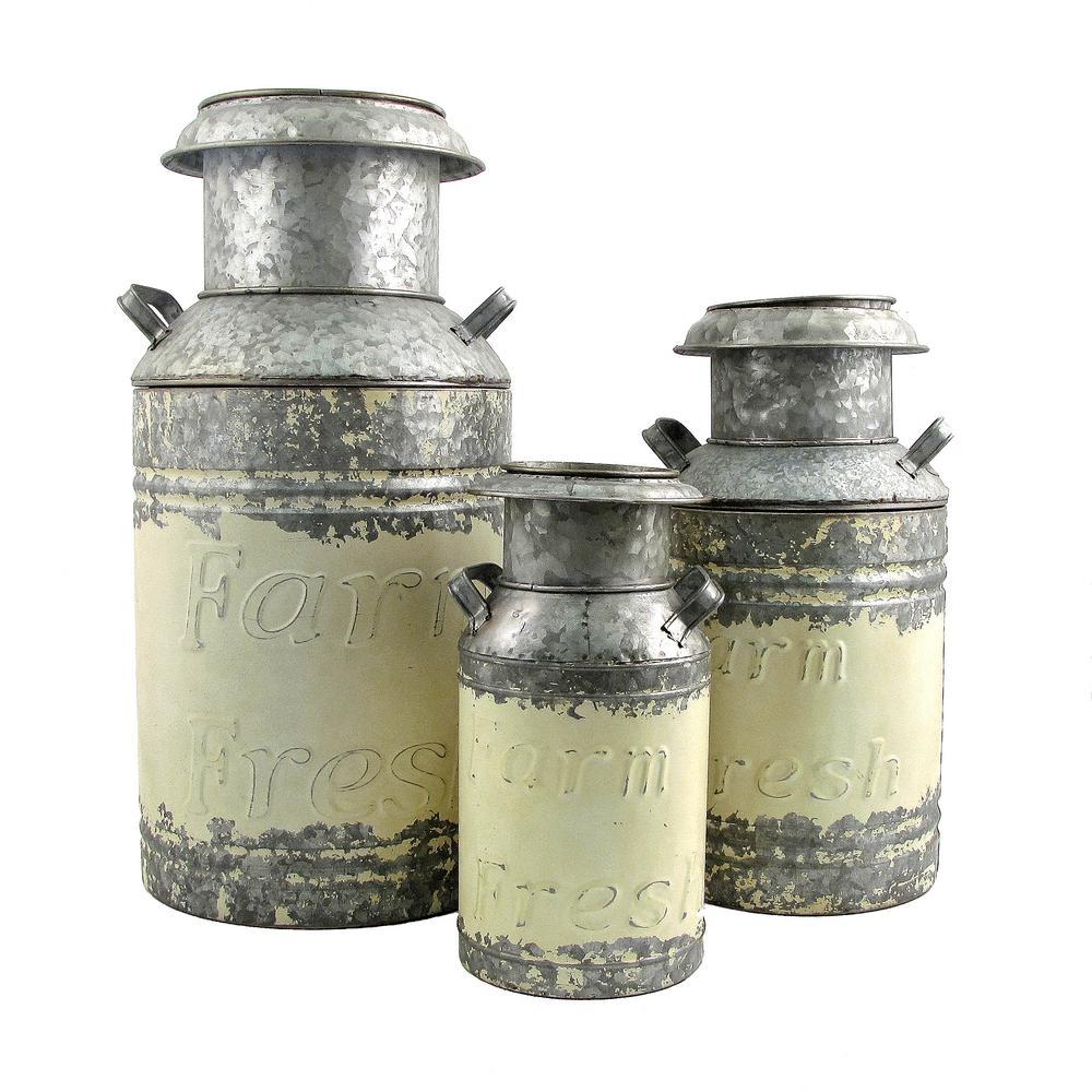 Old Style Cream Galvanized Iron Milk Can Planters (3-Set)