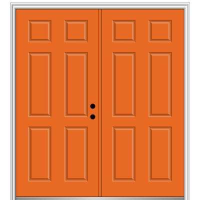 64 in. x 80 in. Left-Hand Inswing Classic 6-Panel Painted Steel Prehung Front Door with Brickmould