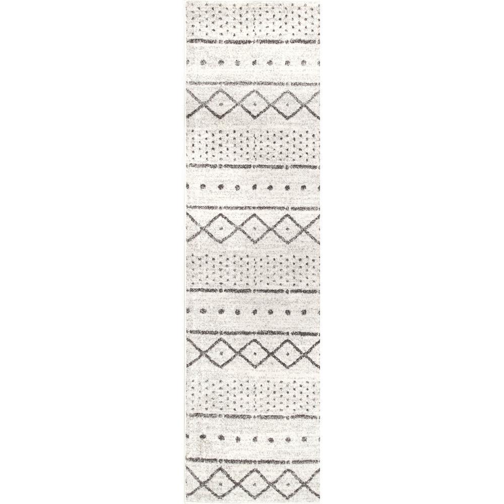 Sienna Striped Tribal Beige 3 ft. x 8 ft. Runner