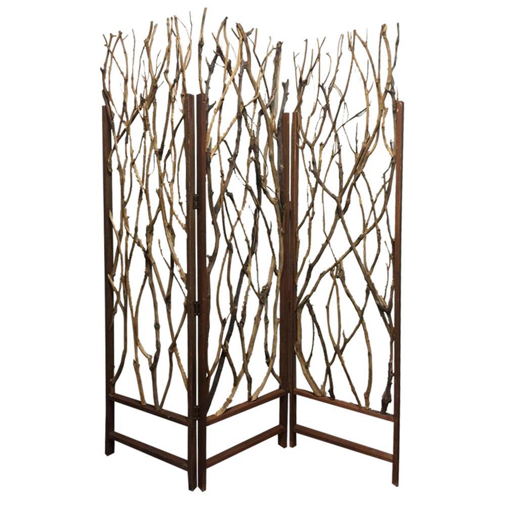 TREE 6 ft. Brown 3-Panel Room Divider