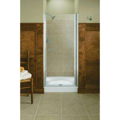 Fluence 32-3/4 in. x 65-1/2 in. Semi-Frameless Pivot Shower Door in Bright Silver with Handle
