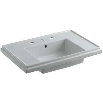 Tresham 30 in. Pedestal Sink Basin in Ice Grey