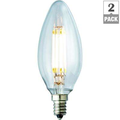 40W Equivalent Soft White B10 Clear Lens Nostalgic Candelabra Blunt Tip Dimmable LED Light Bulb (2-Pack)