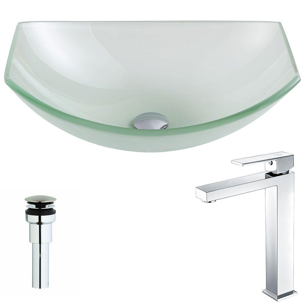 ANZZI Pendant Series Deco-Glass Vessel Sink in Lustrous Frosted with Enti Faucet in Polished Chrome, Lustrous Frosted Finish was $300.0 now $240.79 (20.0% off)