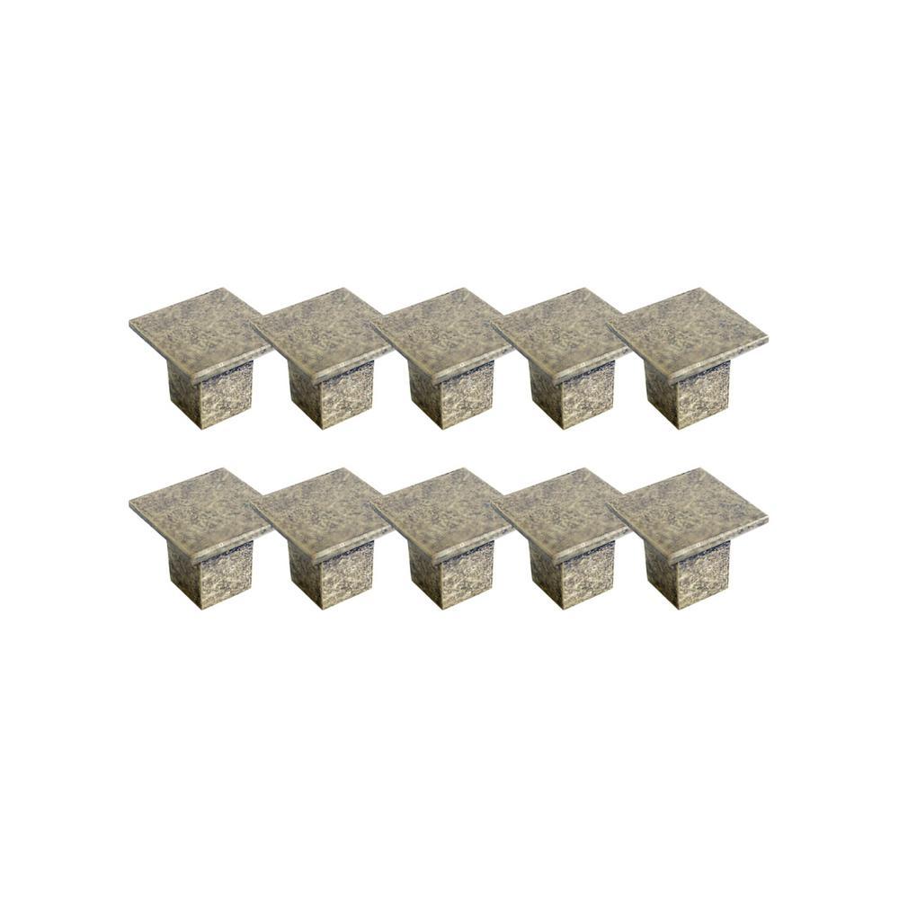 Cubist 1-7/16 in. Antique Brass Cabinet Hardware Knob Value Pack (10