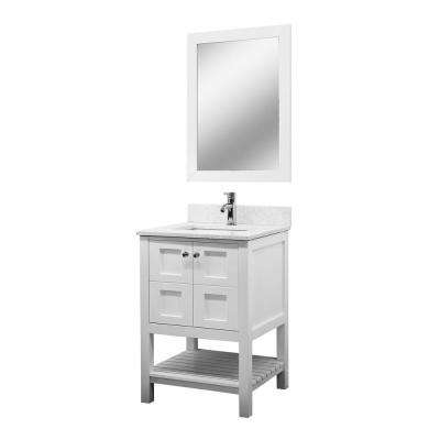 Celine 24 in. W x 34 in. H Vanity in White with Quartz Vanity Top in White with White Basin and Mirror