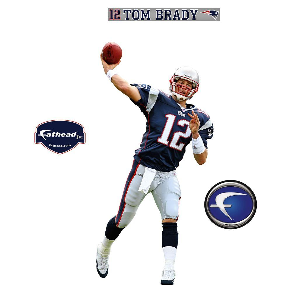Fathead 18 in. x 36 in. Tom Brady New England Patriots Wall Decal