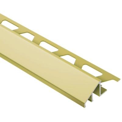 Reno-U Satin Brass Anodized Aluminum 1/2 in. x 8 ft. 2-1/2 in. Metal Reducer Tile Edging Trim