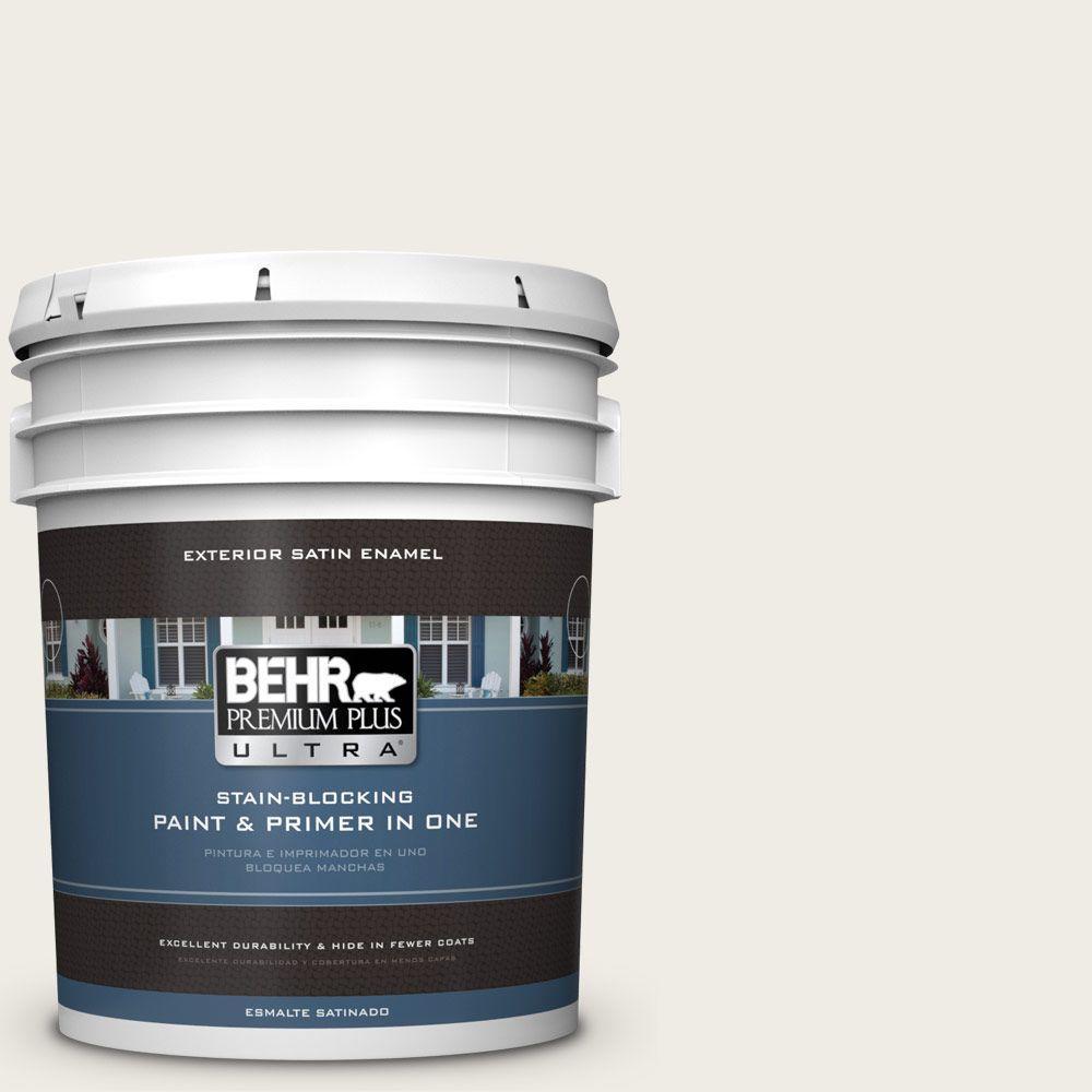 BEHR Premium Plus Ultra 5-gal. #PPU7-12 Silky White Satin Enamel Exterior Paint