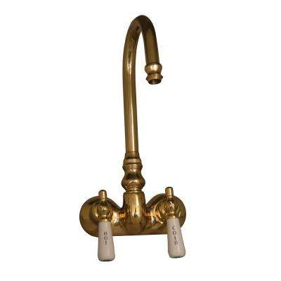 2-Handle Claw Foot Tub Faucet without Hand Shower with Old Style Spigot in Polished Brass