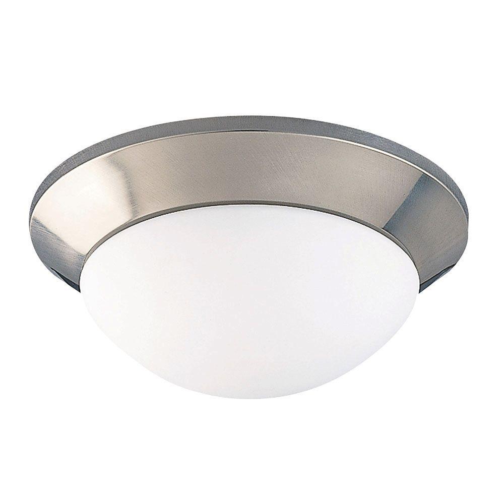 Illumine 1-Light Satin Nickel Marble Glass Flush Mount