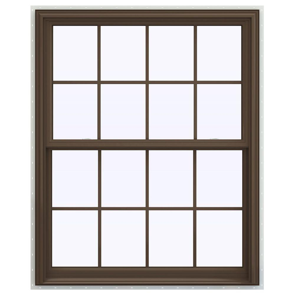 jeld wen 43 5 in x 53 5 in v 2500 series double hung vinyl window with grids brown. Black Bedroom Furniture Sets. Home Design Ideas