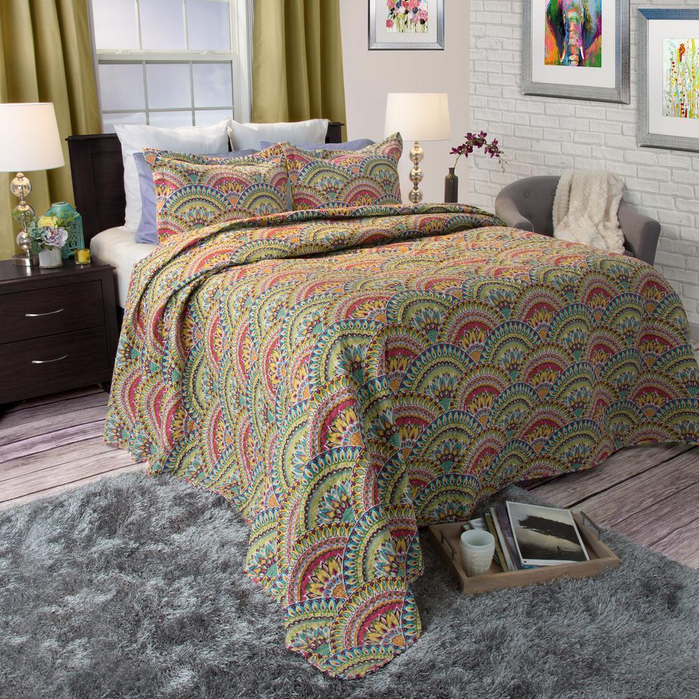 Melanie Green Polyester Twin Quilt
