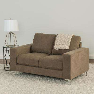 Cory Brown Chenille Fabric Loveseat