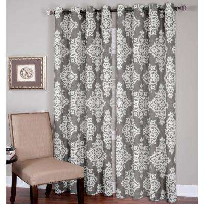 Elrene Medina 52 in. W x 95 in. L Polyester Single Window Curtain Panel in Gray