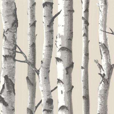 Tuxbury Beige Birch Tree Beige Wallpaper Sample