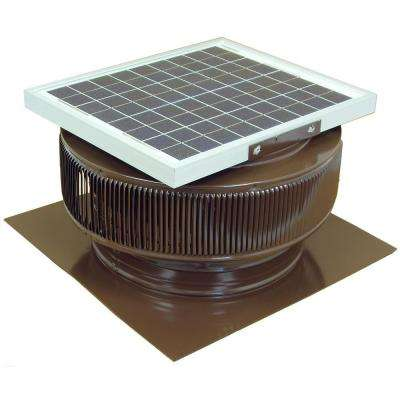 1007 CFM Brown Powder Coated 15-Watt Solar Powered 14 in. Dia. Roof Mounted Attic Exhaust Fan