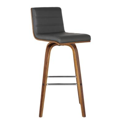 Vienna 26 in. Bar Stool in Walnut Wood with Grey Pu Upholstery