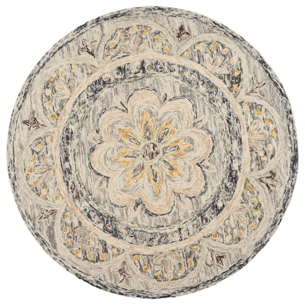 Dazzle Gray 4 ft. x 4 ft. Floral Round Indoor Area Rug