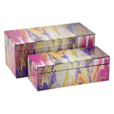 6 in. Glass Box in Pink (Set of 2)