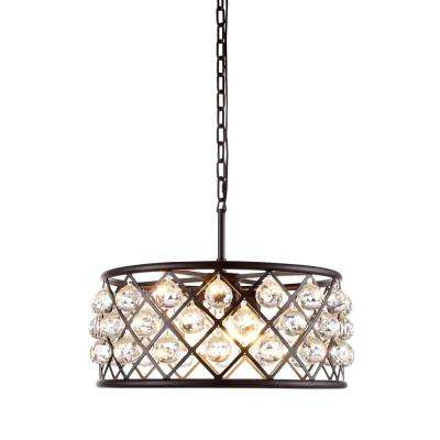 Madison 5-Light Mocha Brown Royal Cut Crystal Clear Pendant