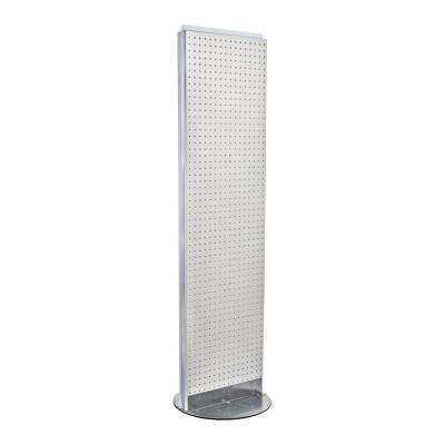 60 in H x 13.5 in W 2-Sided Styrene Pegboard Floor Display in White