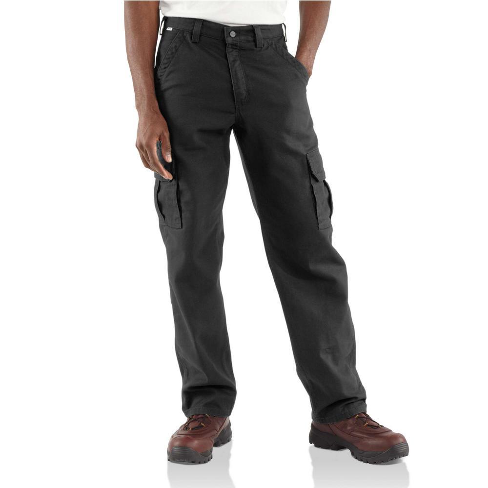 Men's 52 in. x 32 in. Black FR Cargo Pant