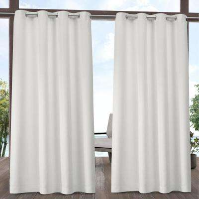 Indoor Outdoor Solid 54 in. W x 84 in. L Grommet Top Curtain Panel in Vanilla (2 Panels)