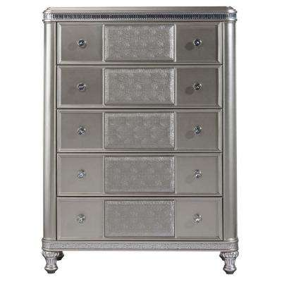Midtown 5-Drawer Modern Silver Chest