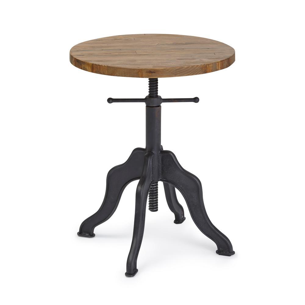 Progressive Furniture Sadie Matte Black/Natural Round Adjustable Accent Table