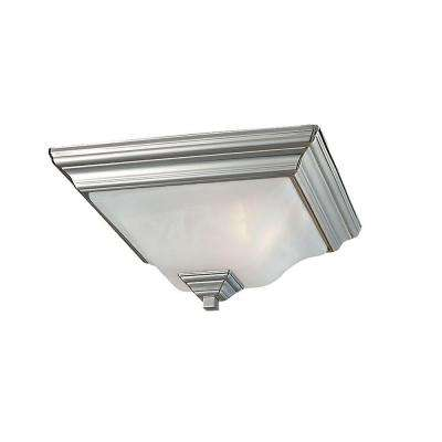 2-Light Brushed Nickel Flush Mount with Faux Alabaster Glass