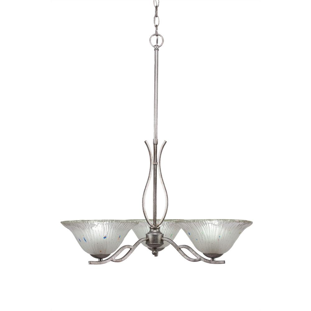 Filament Design 3-Light Aged Silver Chandelier with 10 in. Frosted Crystal Glass