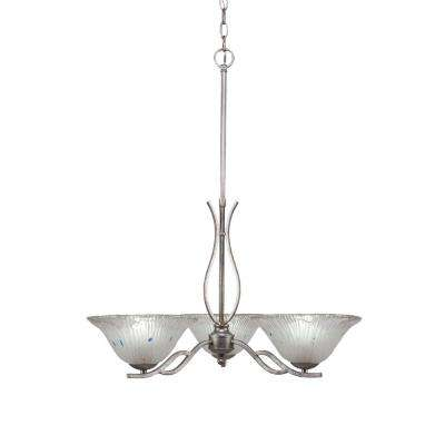 3-Light Aged Silver Chandelier with 10 in. Frosted Crystal Glass