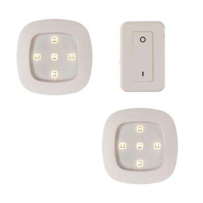 White Wireless Remote Control LED Puck Lighting System