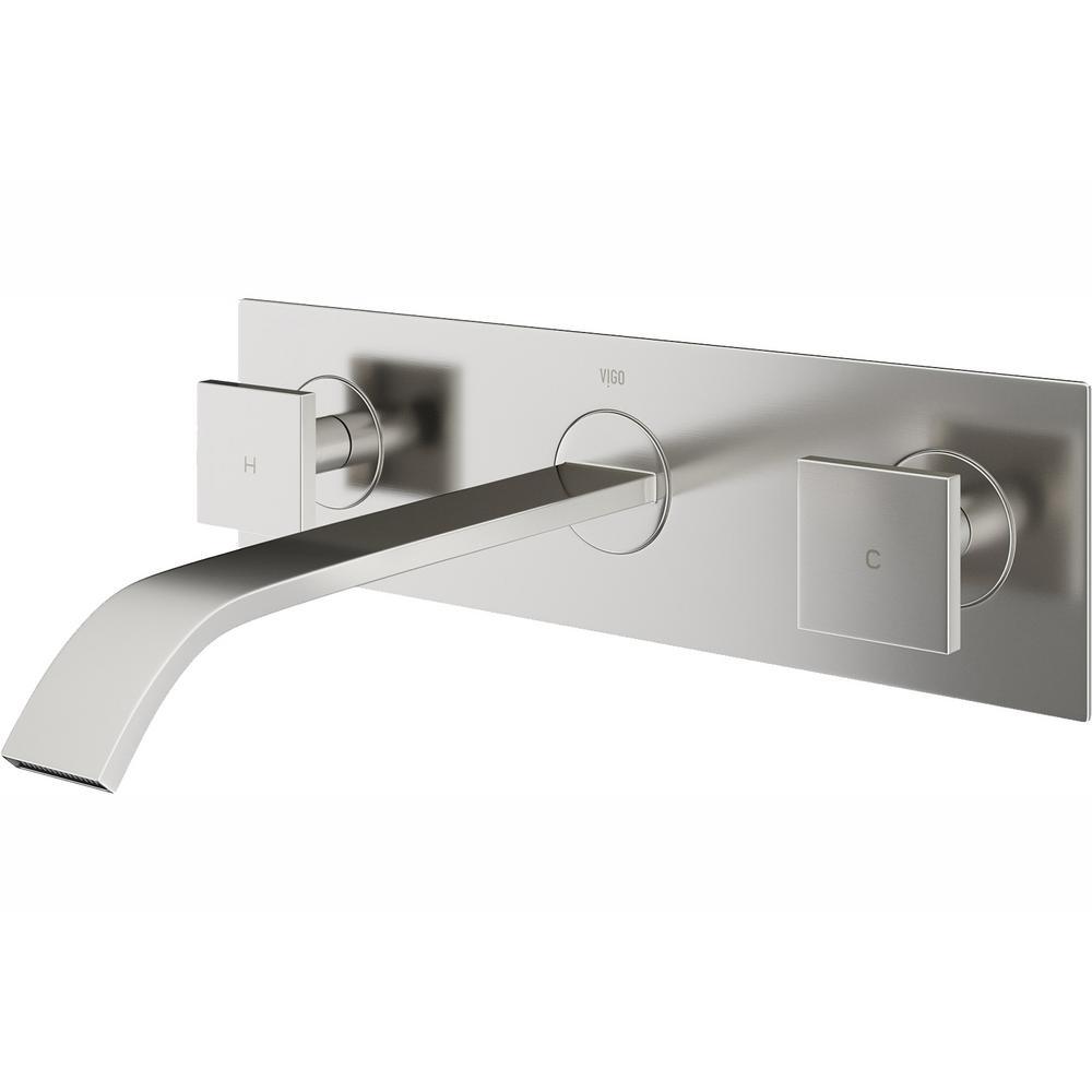 VIGO Titus 2-Handle Wall-Mount Vessel Bathroom Faucet in Brushed Nickel