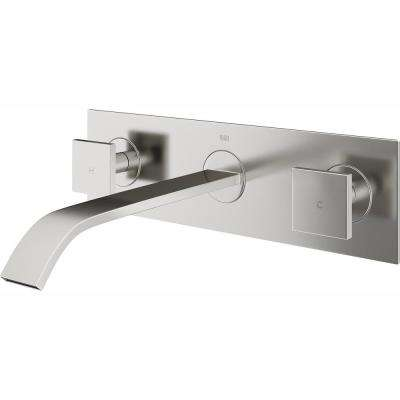 Single Hole 2-Handle Wall-Mount Vessel Bathroom Faucet in Brushed Nickel
