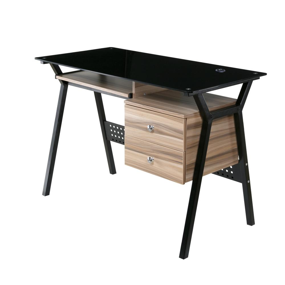 Onespace glass desk with wood drawers and pullout keyboard tray black and walnut