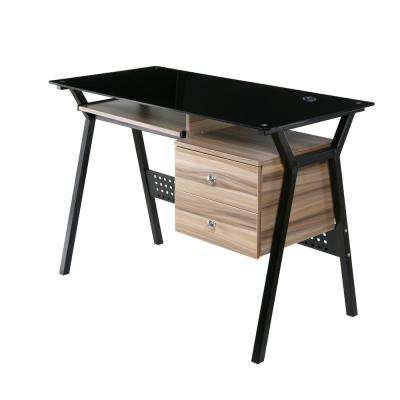 Glass Desk With Wood Drawers And Pullout Keyboard Tray, Black And Walnut