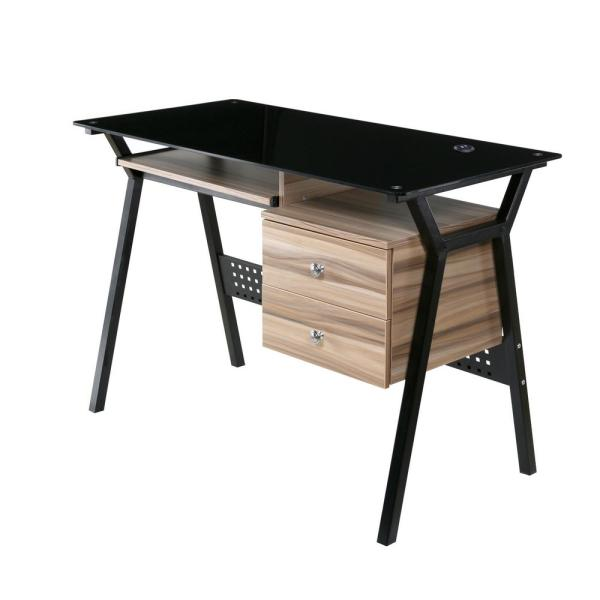 Onespace Glass Desk With Wood Drawers And Pullout Keyboard Tray