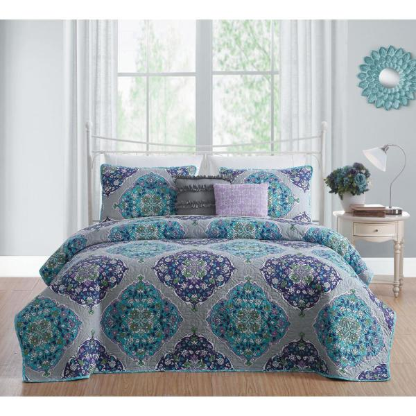 Avondale Manor Chrissa 5-Piece Blue/Orchid King Quilt Set CHI5QTKINGGHBO