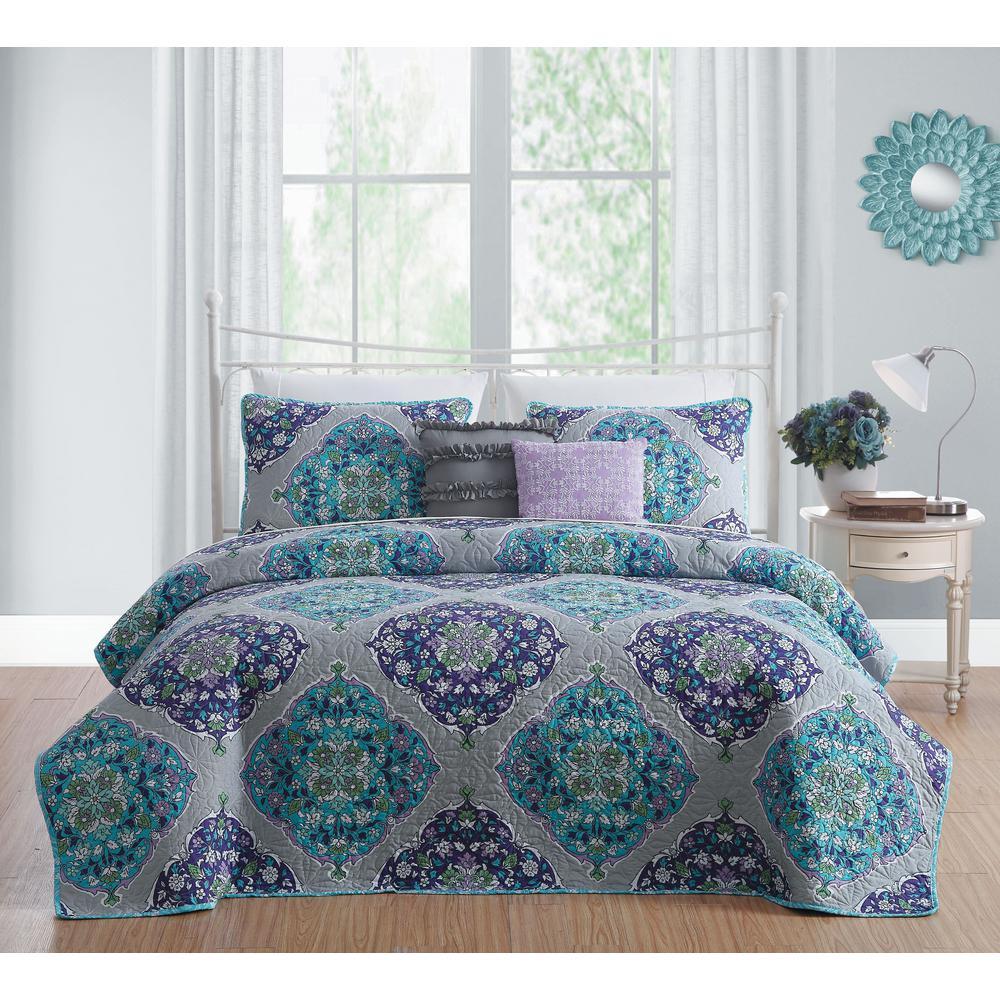 Avondale Manor Chrissa 5-Piece Blue/Orchid King Quilt Set