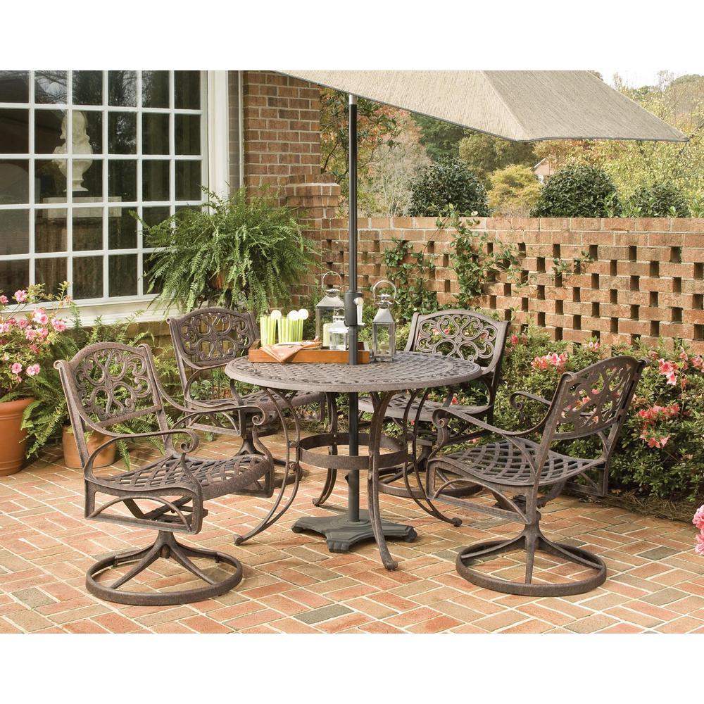 Sanibel 42 in. Swivel Rust Bronze 5-Piece Cast Aluminum Round Outdoor Dining Set