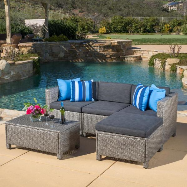 Noble House Puerta Gray 5-Piece Wicker Outdoor Sectional with Black Cushions
